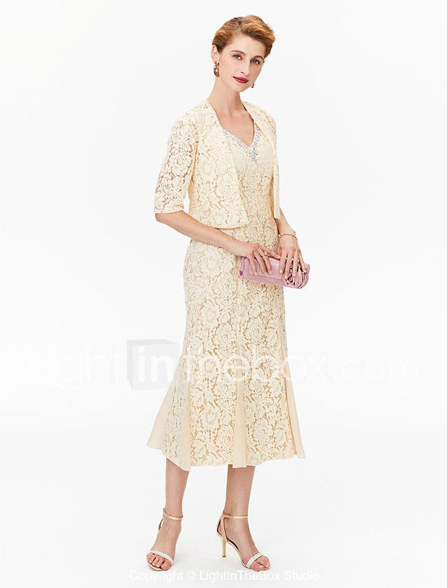b90856c2003 Sheath   Column V-neck Tea Length Chiffon Lace Mother of the Bride Dress  with