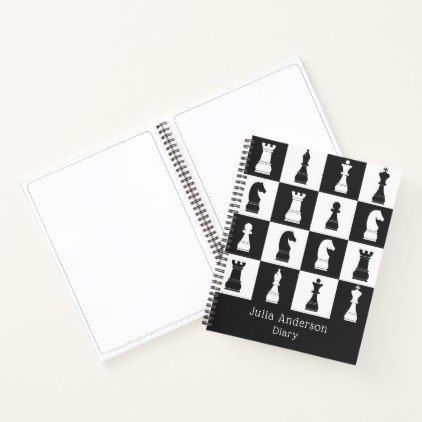Chess Game Black \ White Figures Pattern Name Notebook - sample notebook paper
