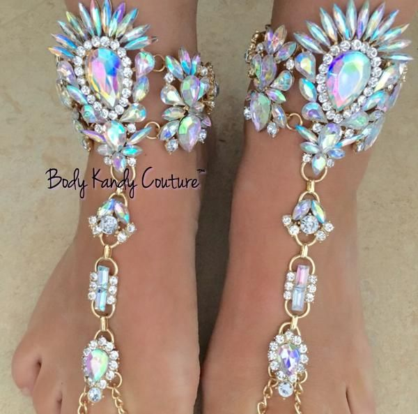 Shop Luxe Crystal Beach Jeweled BareFoot Sandals Weddings Feet