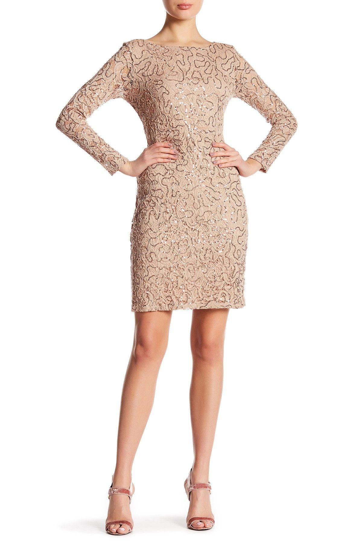 Marina Sequin Lace Long Sleeve Sheath Dress Sequin