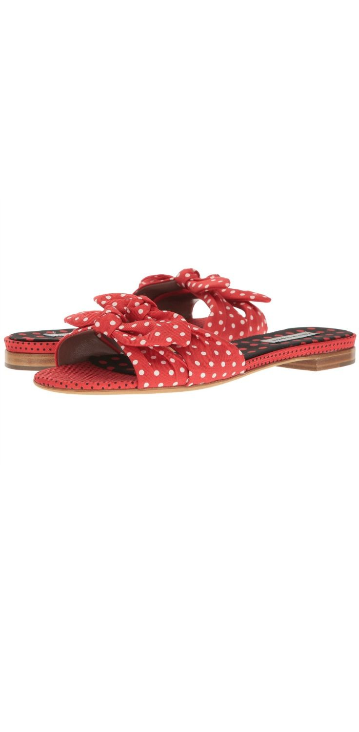 No matter where you roam,  you'll always hit all the bright spots wearing the beautiful  #TabithaSimmons Cleo #Polka.  #slide #sandal #shoes #footwear #slides #sandals