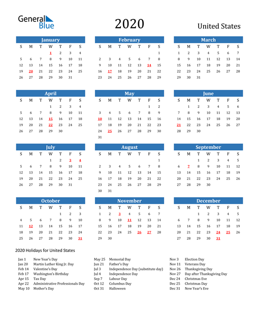 2020 Calendar with Holidays   US in 2020 | 2021 calendar