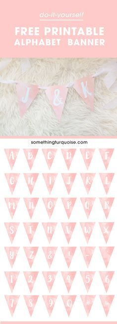 Adorable FREE printable watercolor alphabet banner, you can make it say anything you want!