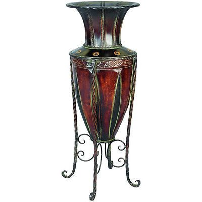 Floor Vase With Stand Tuscan Old World Metal Entryway Planter Home