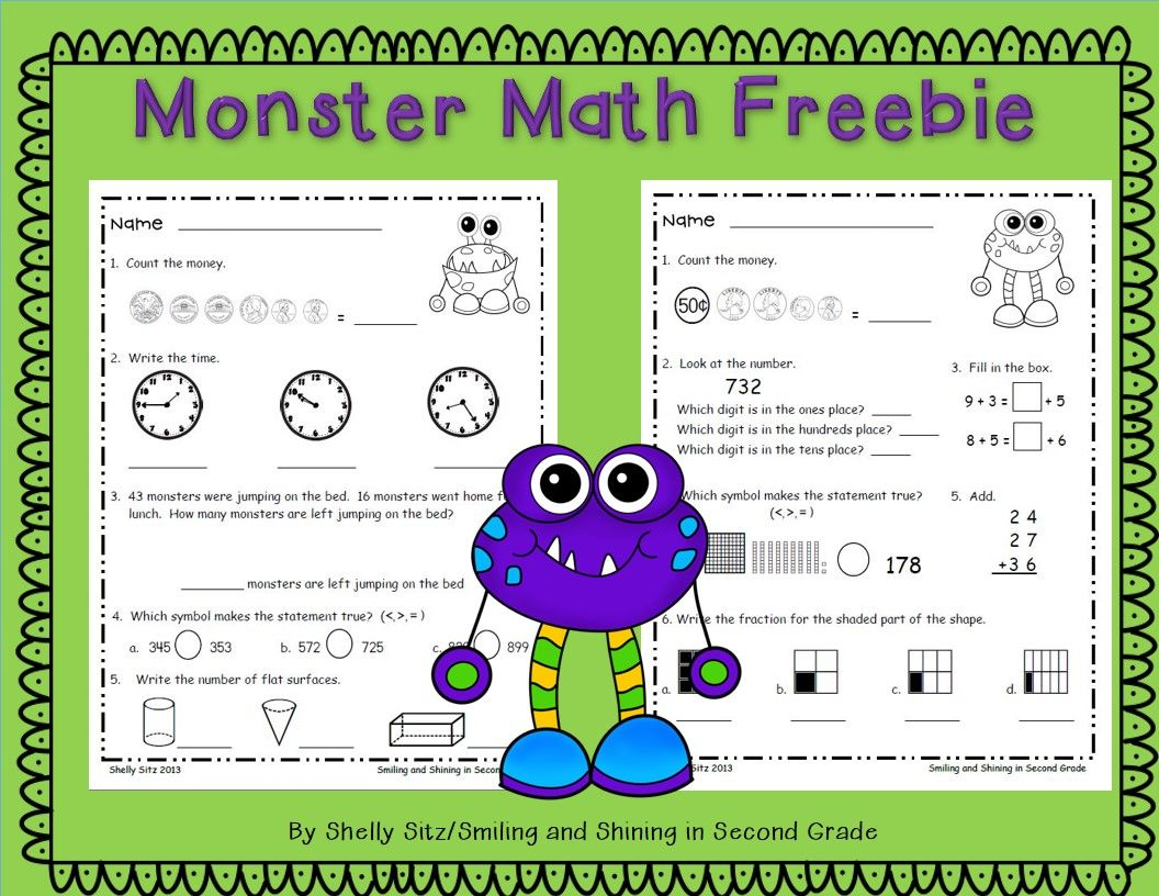 Monster Math Free Great Spiral Review Or Morning Work For 2nd Grade Telling Time Counting