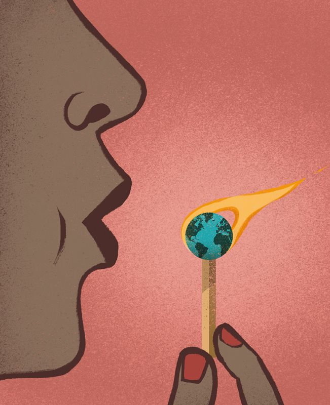 Fantastic global warming illustration by Davide Bonazzi. #ActOnClimate