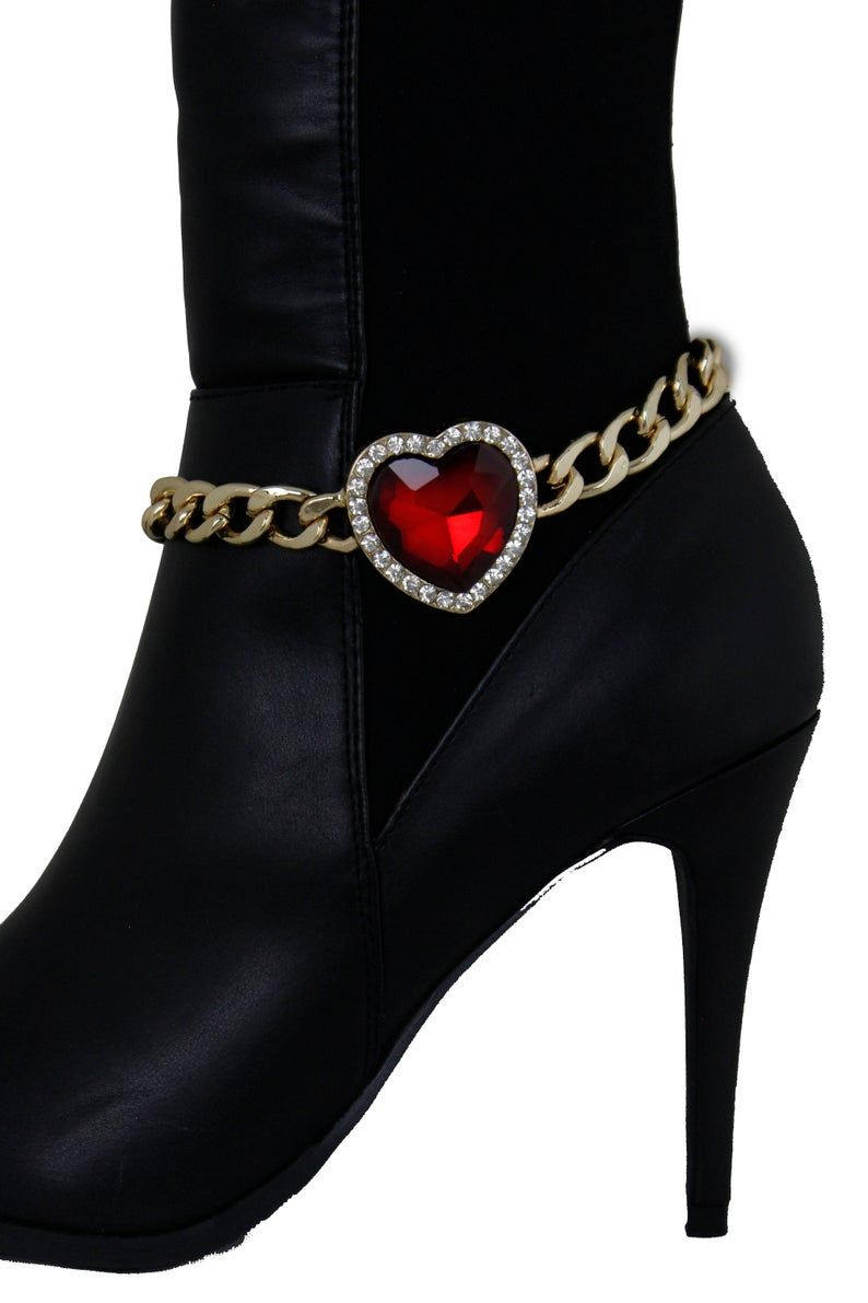 Women Fashion Jewelry Boot Gold Chain Bracelet Shoe Bling Anklet Red Heart Charm