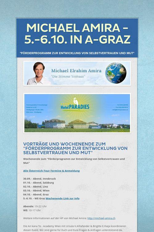 Die Channeltour startet am 1.10. in SALZBURG. Anmeldung auch per E-Mail und Zahlung bei der Abendkasse möglich. Michael Amira ist vom 1.-6.10. in Österreich mit einem WE vom 5.-6.10. in A-Graz // E-Mail: 2012@ankanate-akademie.com Tel. +43 (0)699 1777 1005 und +43 (0)699 1777 1006 Brigitte E.Ilseja & Ursula V.Alltafander www.ankanate-akademie.com