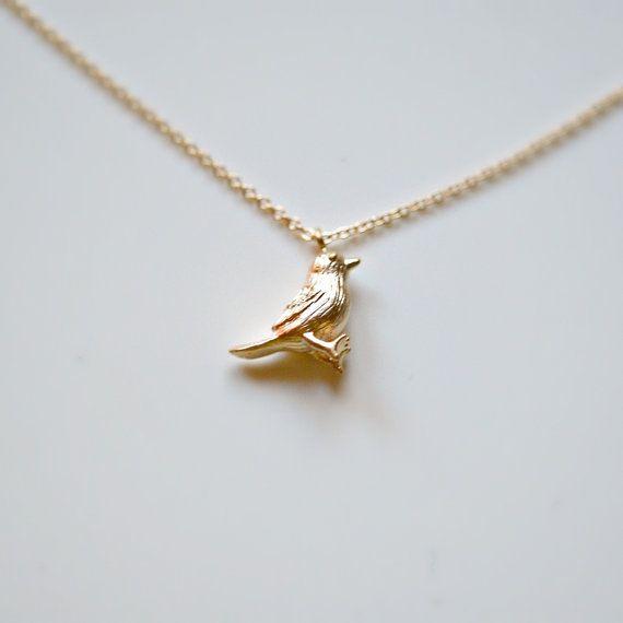 Gold bird necklace tiny bird pendant baby by littleglamour gold bird necklace tiny bird pendant baby by littleglamour mozeypictures Gallery