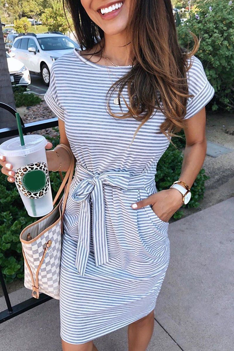 Molydress Striped Knot Design Grey Midi Dress (5 Colors)