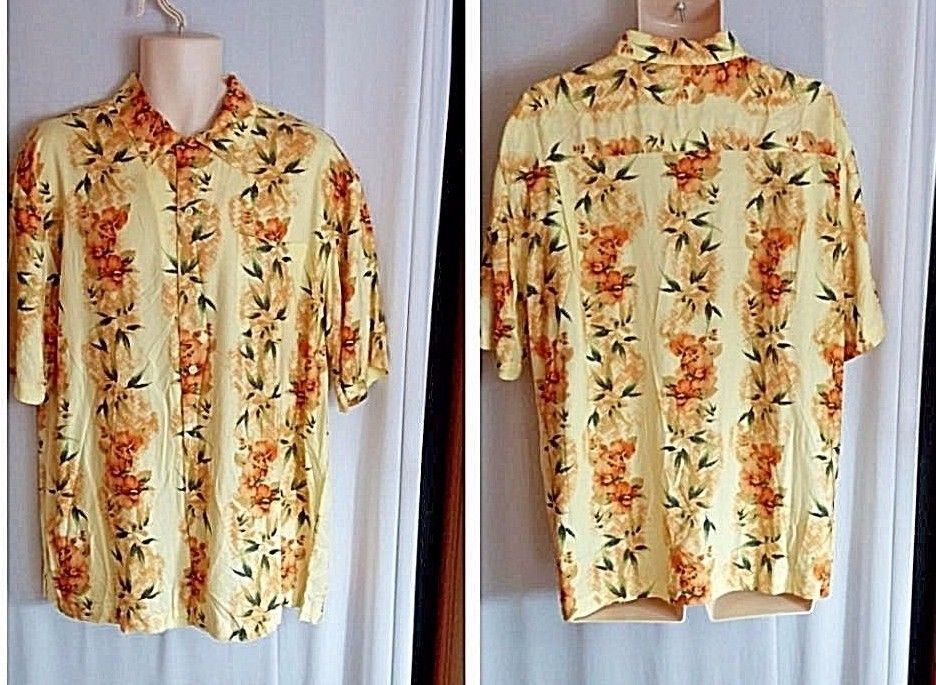0278c99b Puritan Mens Yellow Hawaiian Tropical Floral Bird Paradise Aloha Shirt Size  L #Puritan #Hawaiian