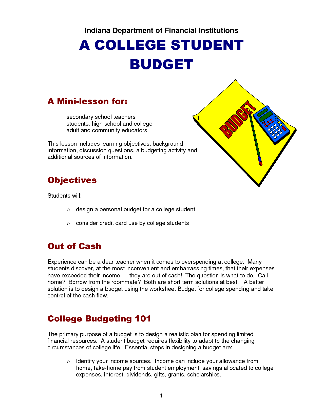 College Student Budget With Images
