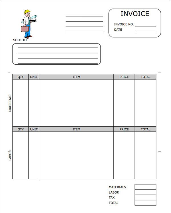 Sample Contractor Invoice Templates invoice Pinterest - labor invoice template free