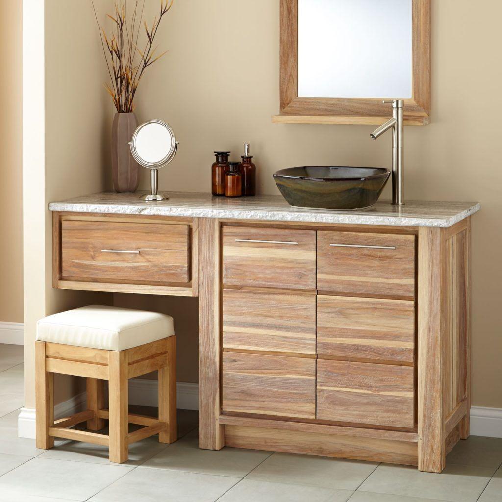 Vanity with Makeup Area Whitewash Bathroom Vanities Bathroom In