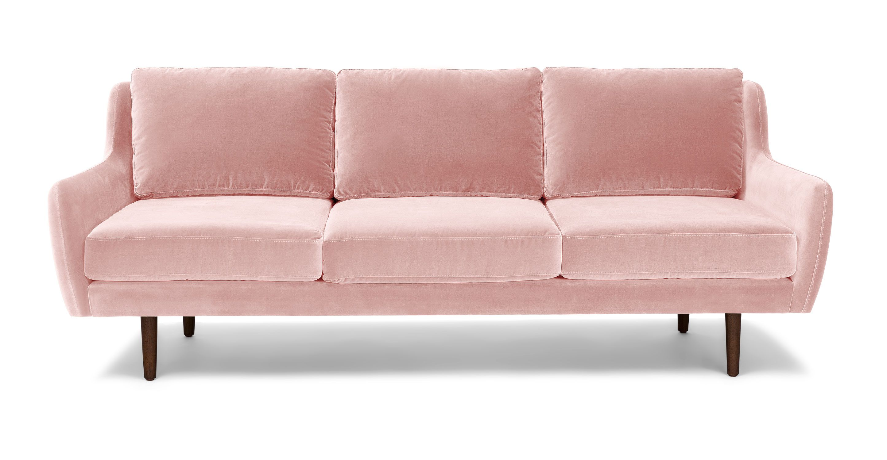 Pink Velvet Sofa Walnut Wood Legs