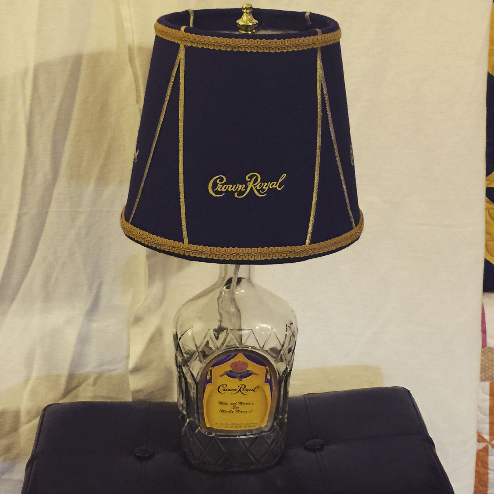 My second Crown Royal Lamp. It takes 5 bags to make al 10