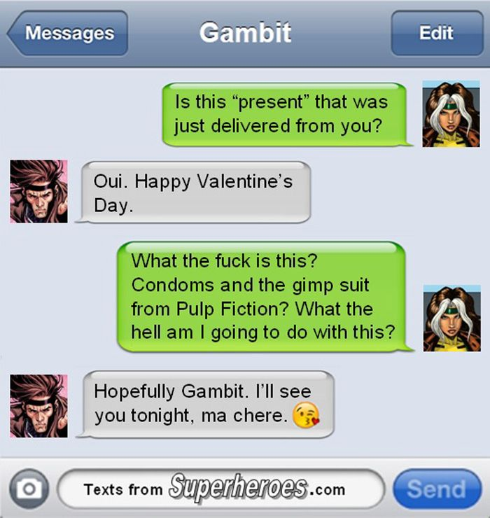 valentines day texts from superheroes httpgeekxgirlscomarticlephp - Valentines Day Texts