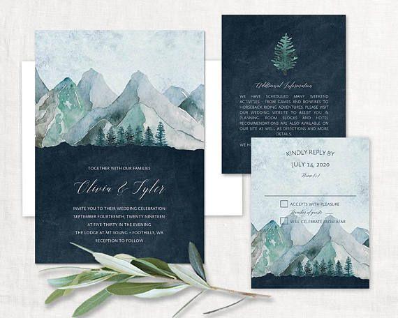 Mountain Wedding Invitation Printable Forest Wedding Invitations