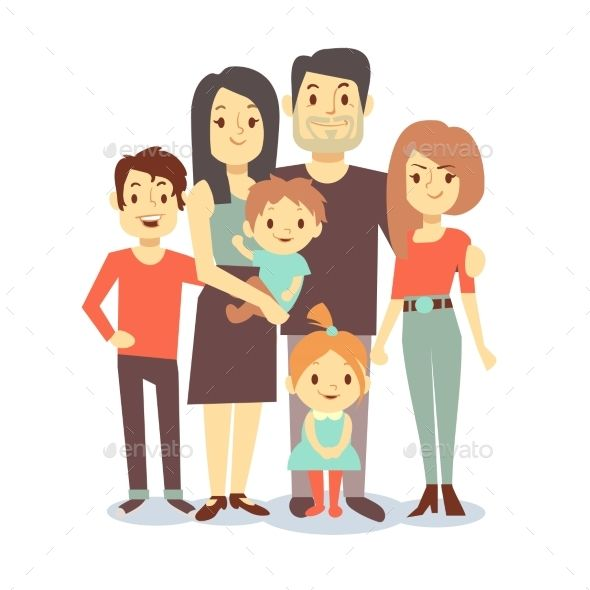Cartoon Family Vector Characters In Casual Family Cartoon Family Vector Vector Character