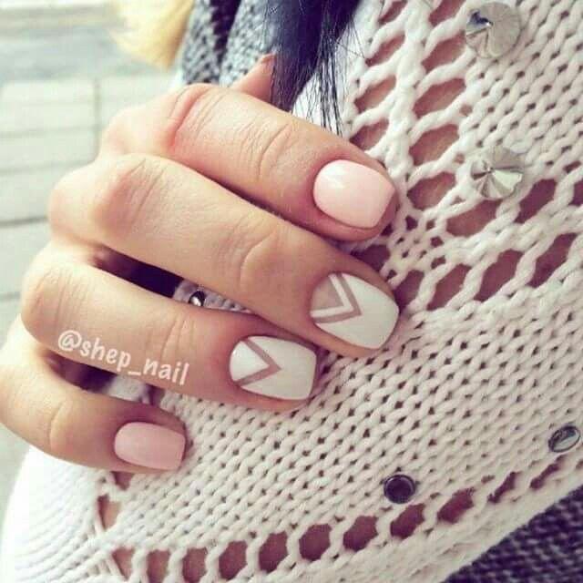 Unas Blanco Y Rosa Nails Pinterest Una Decoradas Manicura And