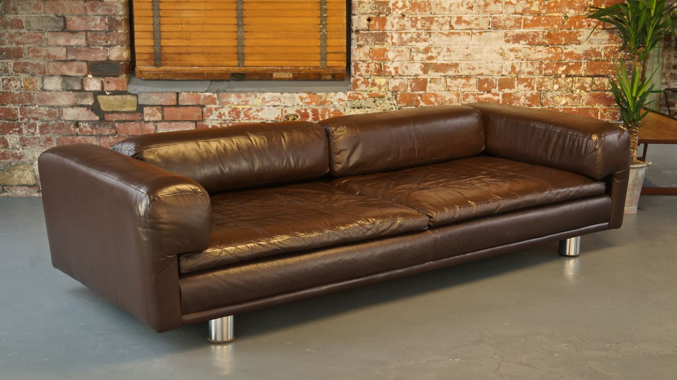 HK Diplomat Large Brown Leather Sofa from Howard Keith ...