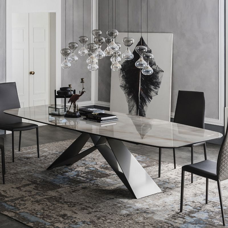 Stylish 63 71 79 Rectangular White Faux Marble Dining Table With Black Metal Frame Dining Table Marble Marble Dining Faux Marble Dining Table