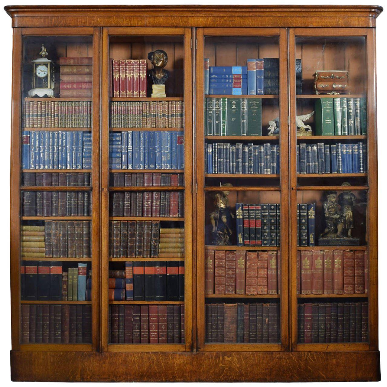 Groovy Large Victorian Oak Four Door Glazed Library Bookcase Download Free Architecture Designs Scobabritishbridgeorg