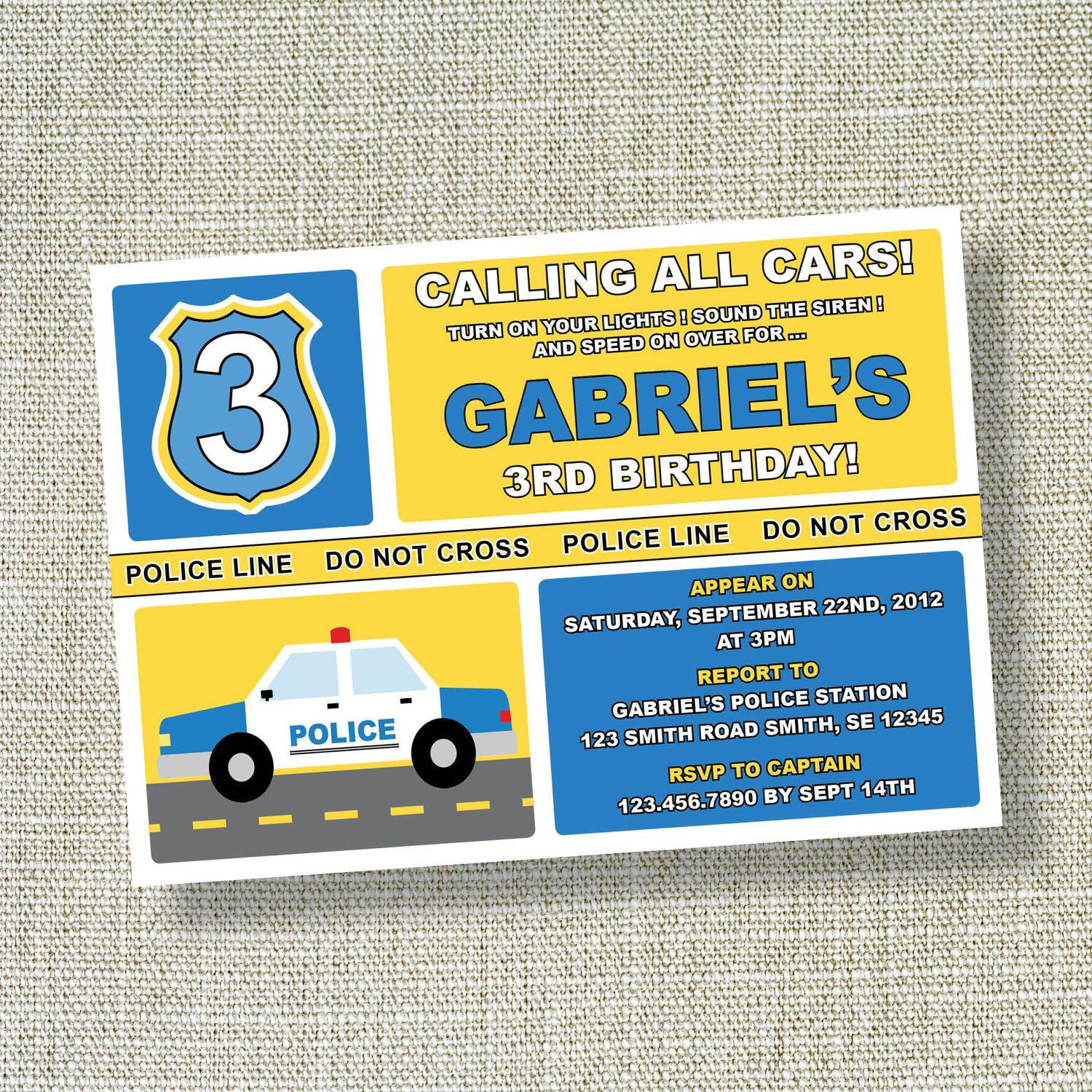 LITTLE POLICE CAR Party Invitation Birthday Police Policeman