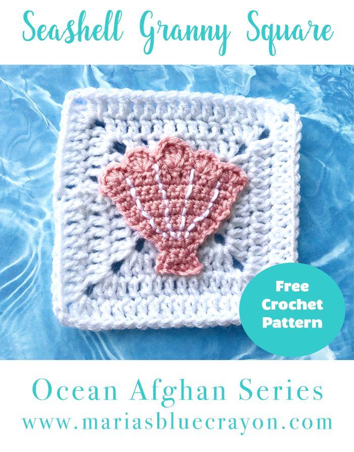 Crochet Seashell Applique And Granny Square Free Crochet Pattern