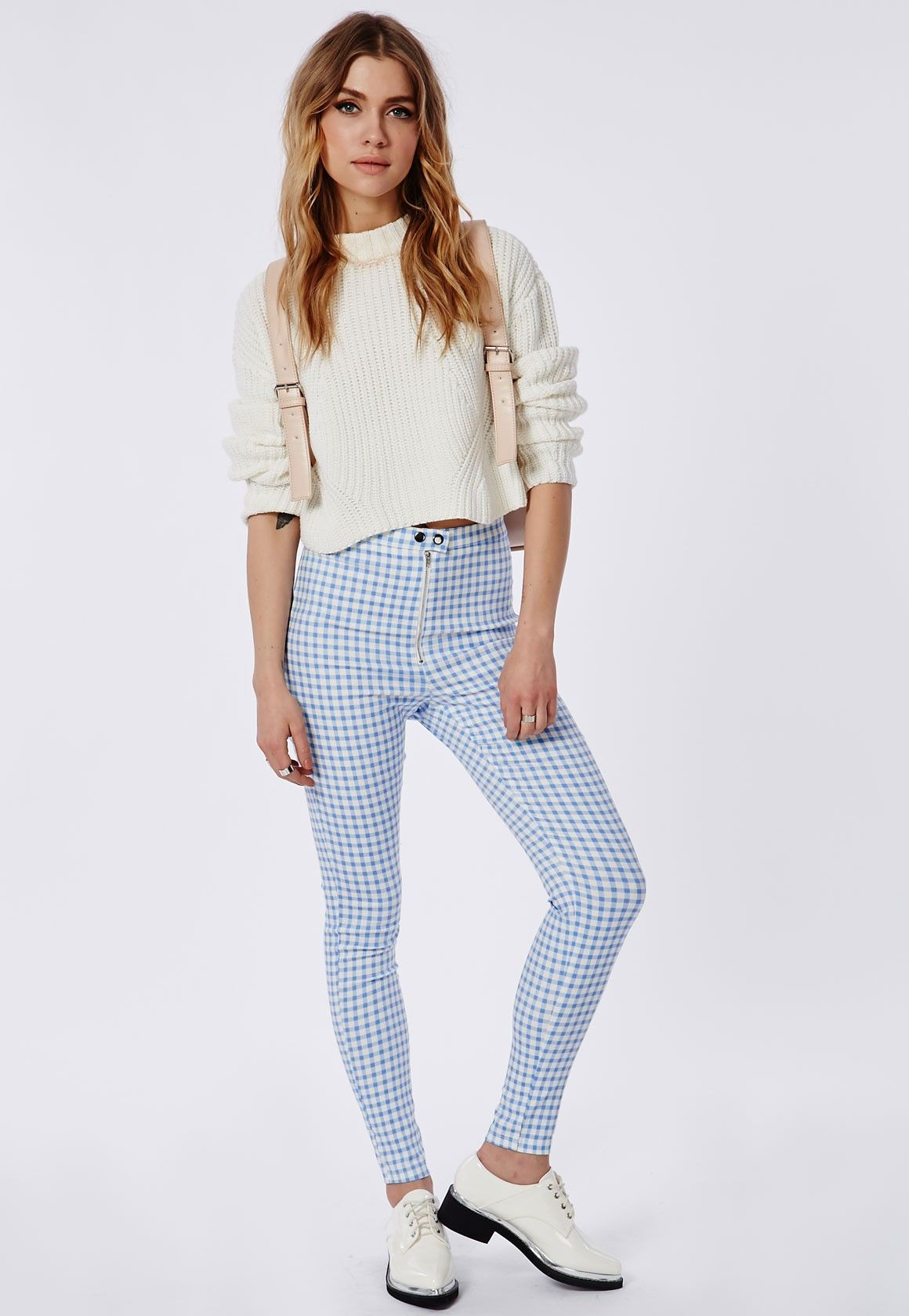 9dce43bf928 Gingham Skinny Jeggings Pastel Blue - Trousers - Missguided ...