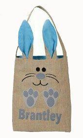 Easter egg basket Easter bunny burlap bag with by BlakeandBailey