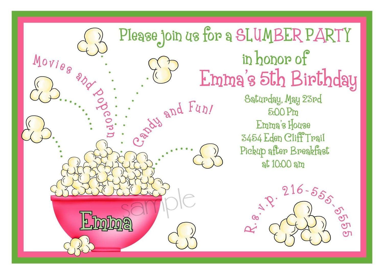 Slumber party Invitations,Sleepover invitations, Popcorn, Movie ...