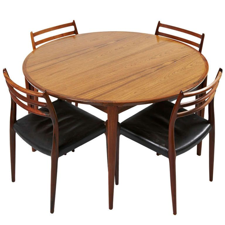 Niels Otto Moller Rosewood Dining Chairs With Rosengren Hansen Rosewood  Table
