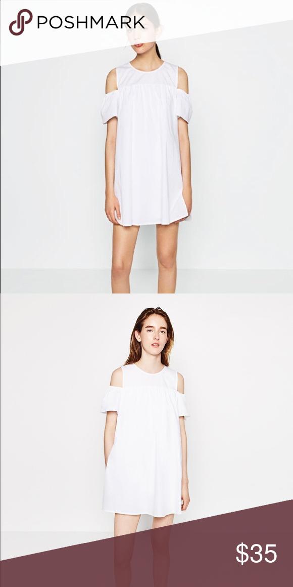 d1e92020b3 NWT Zara White Poplin Cold Shoulder Mini Dress New lightweight white mini dress  Zara Dresses Mini