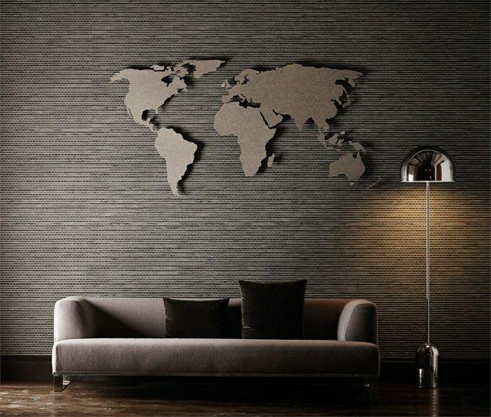 Wand im Wohnzimmer - Weltkarte als Wanddeko Interiors Pinterest
