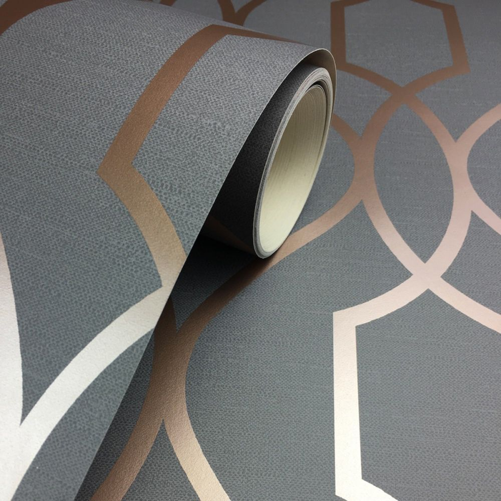 Apex Trellis Sidewall Wallpaper Copper: Apex Geometric Trellis Wallpaper Charcoal Grey And Copper
