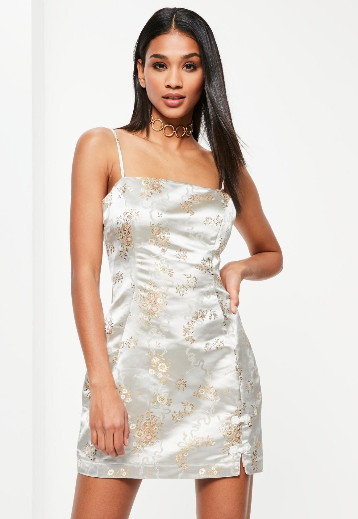 7ae94d8c0d Missguided - Cream Silky Brocade Square Neck Bodycon Dress
