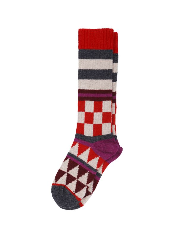 Mens Boot Socks checkerboard Abstract Black Cotton Cozy Colorful