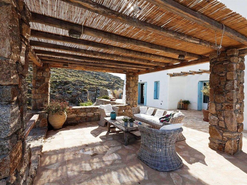Outdoor pergola area Mykonos vacation rental Pergola