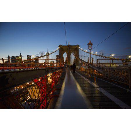 Pedestrian path on Brooklyn Bridge heading into Manhattan at night New York City New York United States of America Canvas Art - Kate Williams Design Pics (19 x 12)