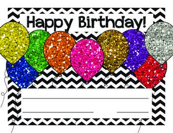 Happy birthday cards in chevron with glitter balloons the art of happy birthday cards in chevron with glitter balloons m4hsunfo