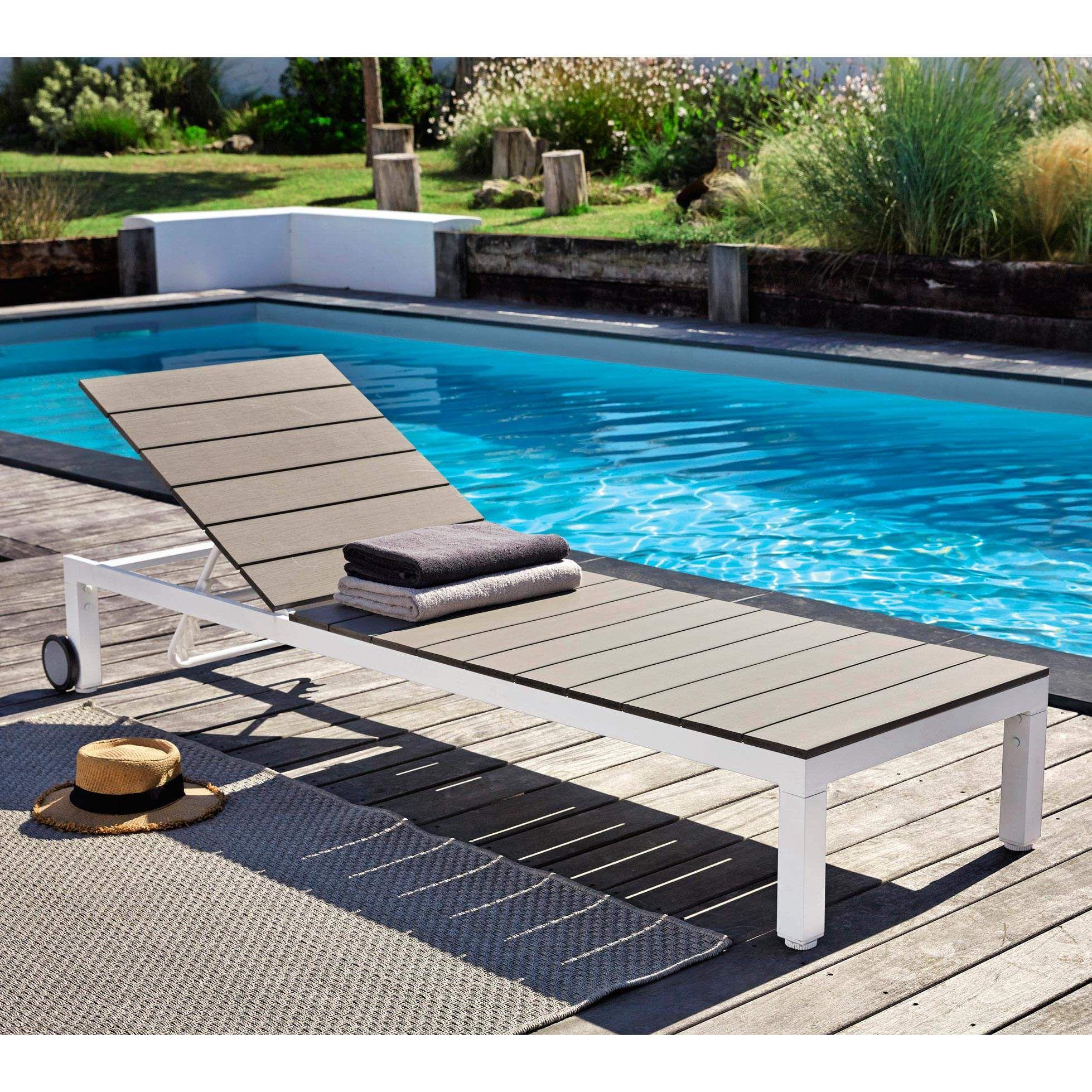 bain de soleil roulettes en aluminium blanc l 188 cm. Black Bedroom Furniture Sets. Home Design Ideas