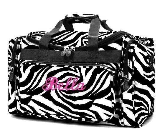 Personalized Duffle Bag Zebra Black White Dance Gym By Parsik93 34 99