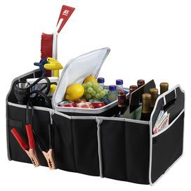 """Three-section trunk organizer with a removable thermal shield-insulated cooler.  Product: Trunk organizer and coolerConstruction Material: Fabric, mesh, and insulationColor: BlackFeatures:  Three large sections and two outer pocketsDesigned in the USAFolds flat for storage Dimensions: 12"""" H x 23"""" W x 14"""" D"""