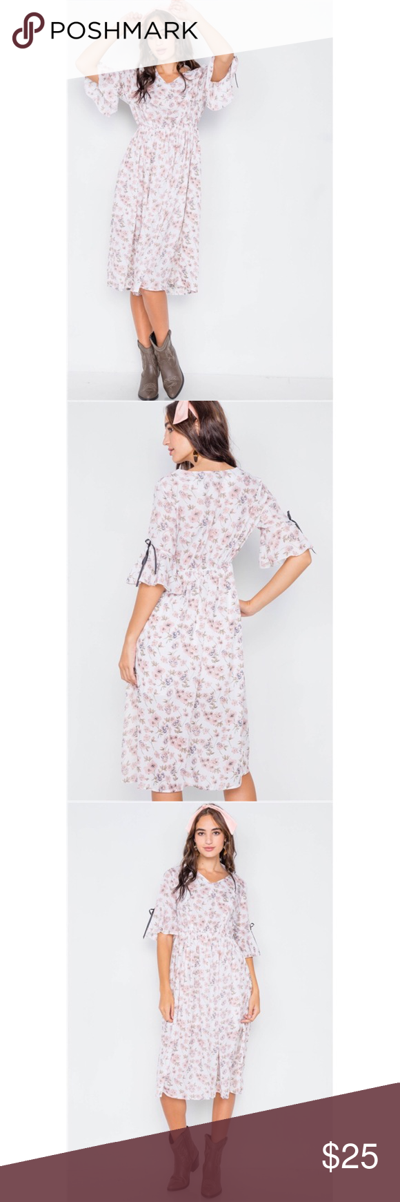 Pink White Floral Flounce Stretchy Midi Dress Pink Midi Dress Dresses Midi Dress [ 1740 x 580 Pixel ]