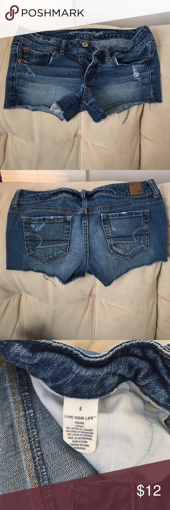 """⚡️20% Off 2+ ⚡️AE Stretch Jean Shorts Soft and stretchy, these are a causal, cut-off, looking short. 2.5"""" inseam American Eagle Outfitters Shorts Jean Shorts"""