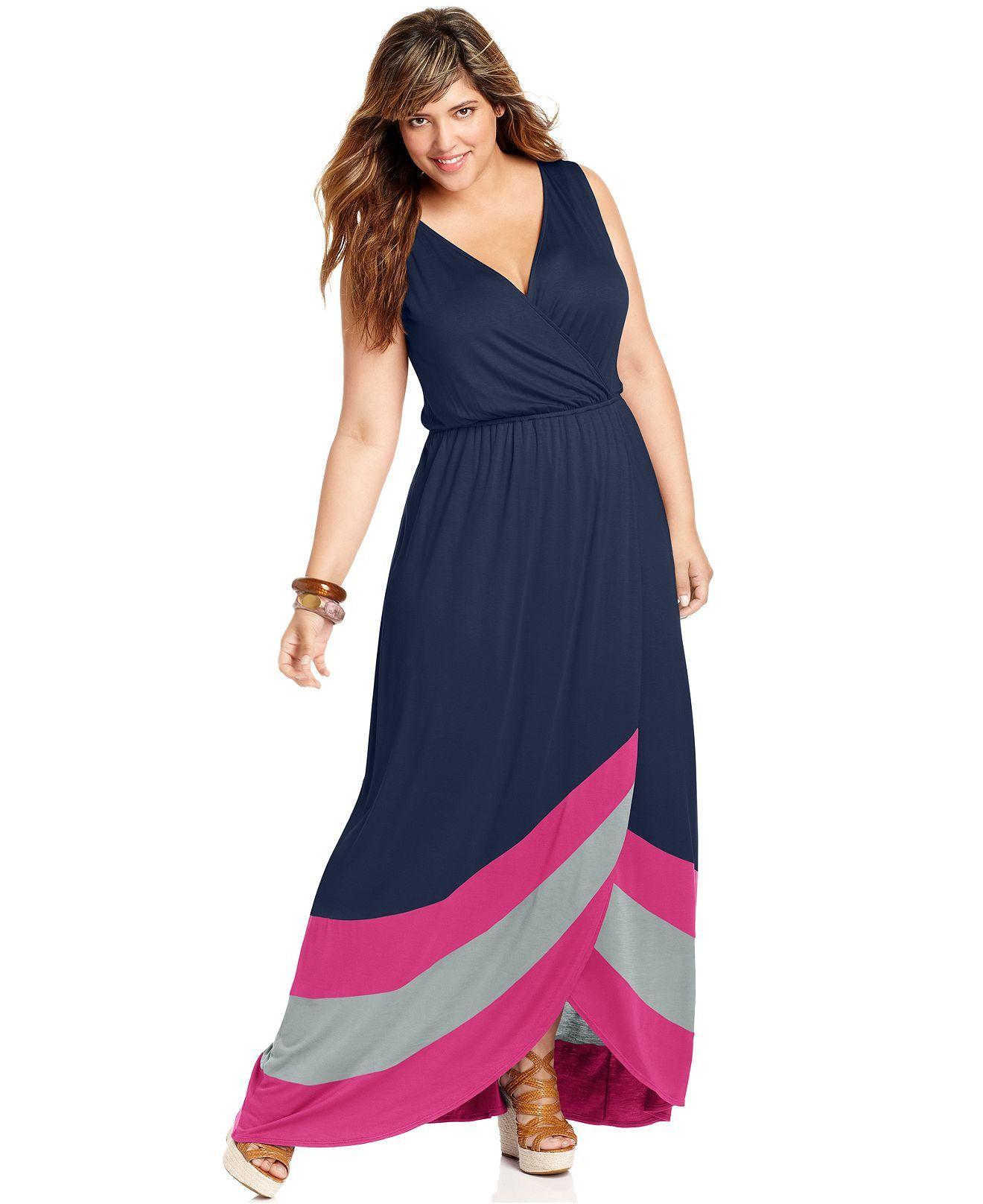 soprano plus size dress, sleeveless colorblocked maxi - plus size