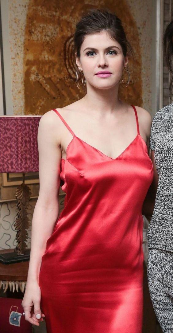 Alexandra Daddario silk red dress