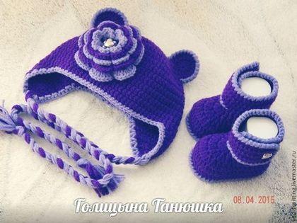 Для новорожденных, ручной работы. Ярмарка Мастеров - ручная работа Шапочка и пинетки для девочки. Handmade.