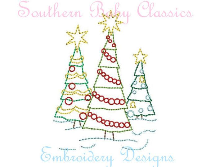 Christmas Tree Trio Three Trees Vintage Stitch Line Work Design File For Embroidery Machine Instant Downl Embroidery Designs Unique Items Products Stitch Lines